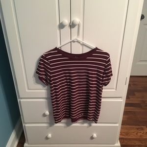 Forever 21 maroon & white striped shirt size L.